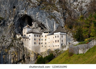 Postojna / Slovenija - November 17, 2018: a beautiful view of Predjama Castle, the largest cave castle in the world, listed as one of the Guinness World Records