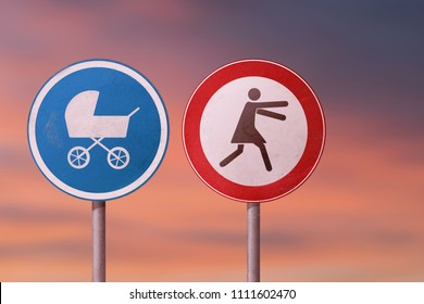 Postpartum depression, childfree, orphan - woman escapes from the baby carriage. Road signs.