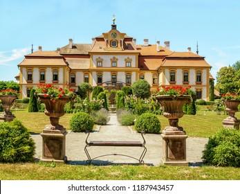 Postupice, Czech Republic - July 30, 2018: Jemniste Chateau is a baroque chateau in Benesov District, Central Bohemian Region