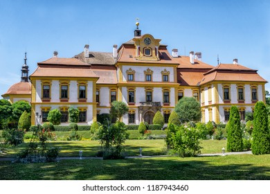 Postupice, Czech Republic - July 30, 2018: Park view to Jemniste Chateau, baroque chateau in Benesov District, Central Bohemian Region