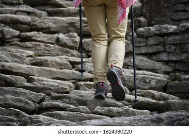 Posture of the adventure people trekking with stairway background on the route to Annapurna base camp at Pokhara, Nepal