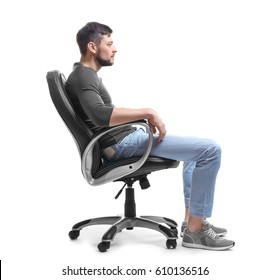 Posture concept. Man sitting in armchair on white background