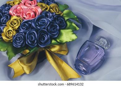A pot of artificial flowers