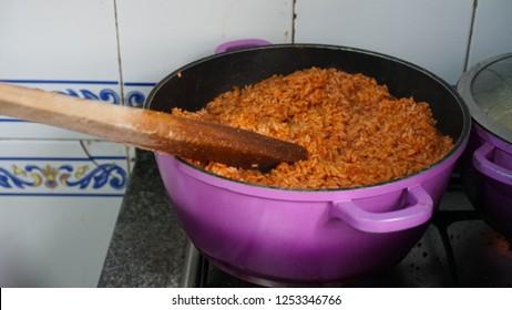 A pot of delicious Nigerian Jollof rice