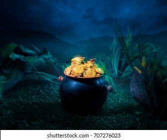 pot full of gold coins in a forest at night / High contrast image