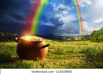 Pot full of gold at the end of the rainbow. - Shutterstock ID 1120138835