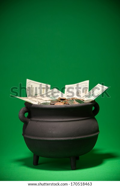 Pot Of Gold: Pot Of American Money On Green