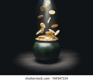 pot with gold coins falling in a dark background / saint patricks day concept / 3d elements composited in.