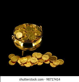 Pot of Gold Coins a symbol of The Luck of the Irish or St Patrick's Day