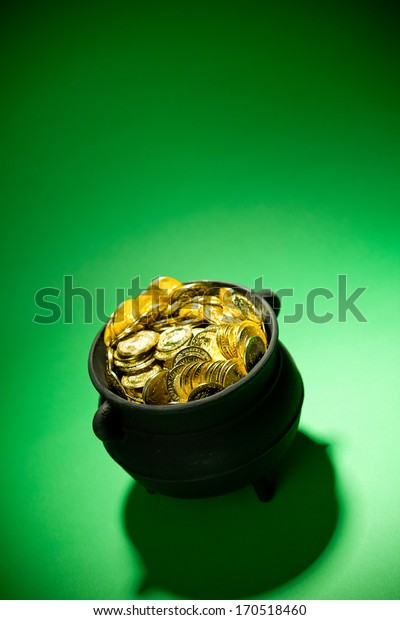 Pot Of Gold: Gold Filled Cauldron with Copyspace