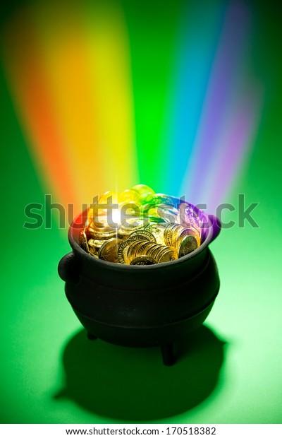 Pot Of Gold: Leprechaun treasure with Magical Rainbow