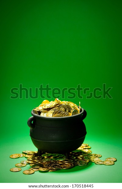 Pot Of Gold: Overflowing Pot On Green Background