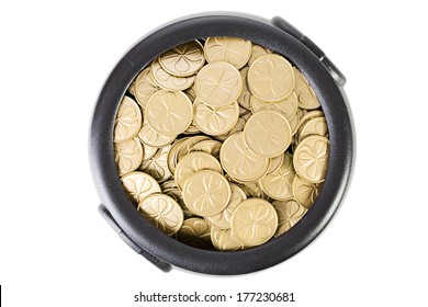 Pot Of Gold: Overhead View of Shamrock Coins