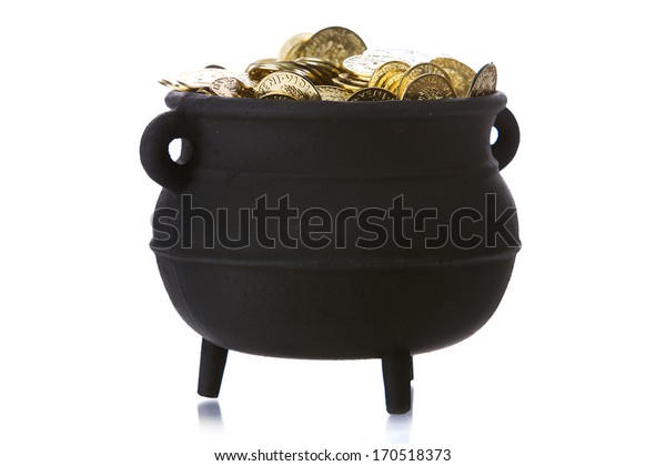 Pot Of Gold: Side View Of Full Cauldron.