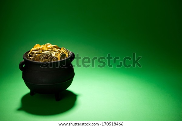 Pot Of Gold: Treasure on Green Background.