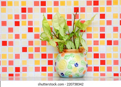 Pot with green on colored mosaic background