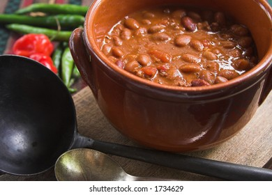 Pot of hearty mexican chili