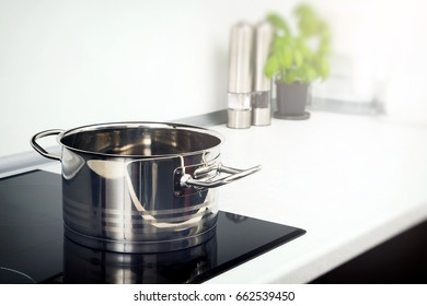 Pot in the kitchen on the induction hob. modern kitchen pot cooking induction electrical stove hob concept