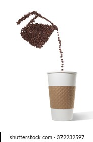 Pot Made of Beans Pouring Beans into Paper Cup