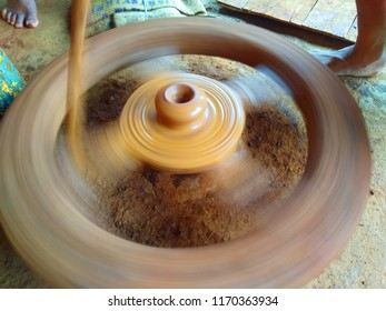 Pot making wheel in color and gray scale image