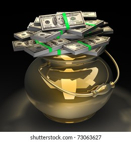 Pot of money isolated on black background. High quality 3d render.  with clipping path