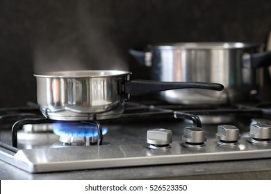 pot stands on a stove
