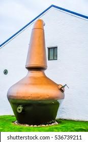A pot still on display, Islay, Scotland