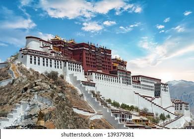Potala Palace in Lhasa ( Tibet ) with beautiful sky