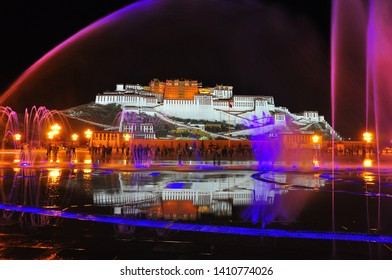 Potala palace in Tibet. night view with colorful lights and reflection in fountain are so amazing.