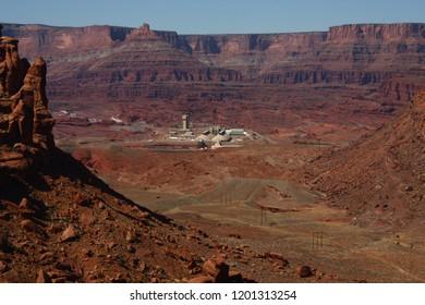 Potash mine in Moab Utah taken from Cliffhanger Jeep trail.