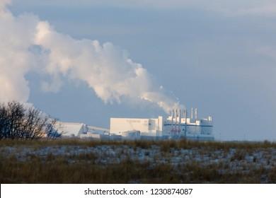 Potash Mine Saskatchewan pollution billowing Prairie Scene Canada