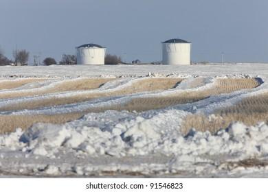 Potash Mine in Winter at Sunset