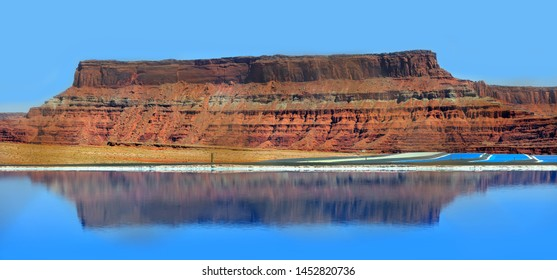 Potash ponds in Utah on the way to Canyon lands
