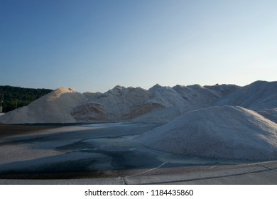 Potassium Chloride  road salt piles for winter icy roads, salt yard
