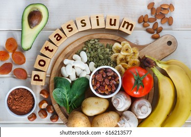 Potassium Food Sources as dried apricots, raisins, avocado, cocoa, bean, pumpkin seeds, dried banana, potatoes, tomatoes, spinach, mushrooms, fresh banana, hazelnuts, almonds.