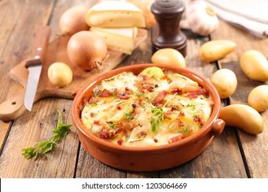 potato, bacon and cheese