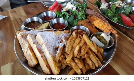 potato, bread, shrimp brunch