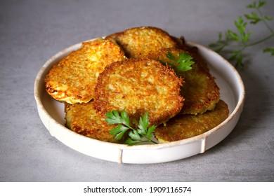 Potato Cakes. Vegetable fritters, latkes, hash browns. Vegetable pancakes