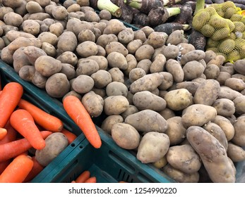 Potato and carot in the market.