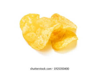 potato chip isolated on white background. beacon chips slice cut out. studio shot.