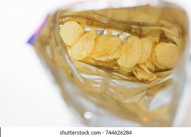 Potato chips Almost completely empty bag.