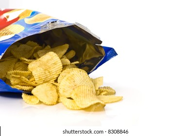 Potato chips and bag