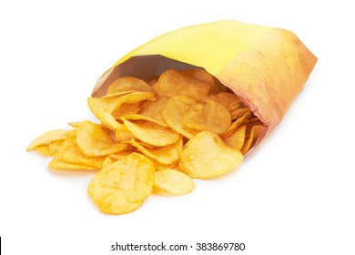 Potato chips bag isolated on white background