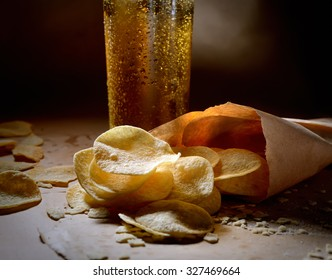 potato chips in bags and beer