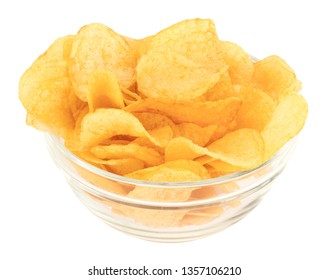 Potato chips bowl isolated on white background, with clipping path.