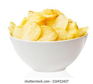 Potato chips bowl isolated on white