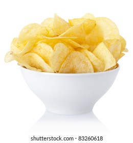 Bouillon de chips isolé sur fond blanc, chemin de détourage inclus