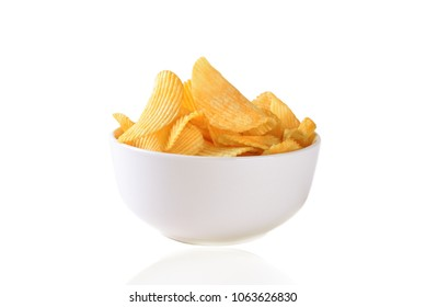 Potato chips, crisps in the bowl in the white background, isolated