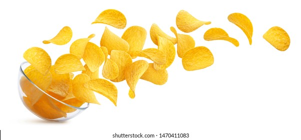 Potato chips falling into glass bowl isolated on white background with clipping path, flying potato crisps