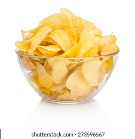 Potato chips in glass bowl isolated on white background